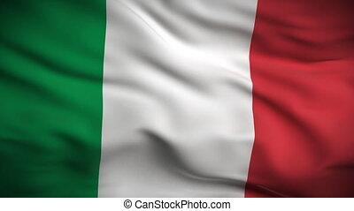 hd., drapeau, looped., italien