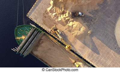 HD - Dry-cargo vessel. Ship loading. Top view