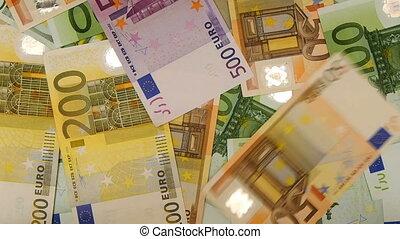 HD - Euro money. Euro falling down