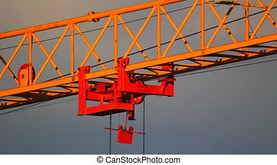 HD Extreme close-up of tower crane hoisting mechanism