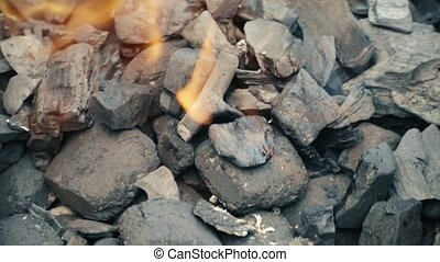 HD Fire coals, burning charcoal as background 1 - Fire...