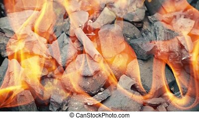 HD Fire coals, burning charcoal as background 4 - Fire...