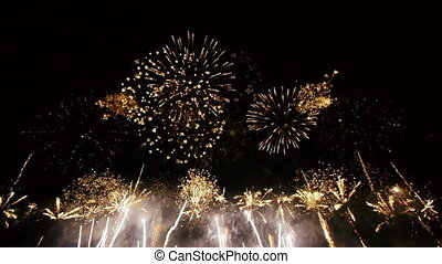 hd, -, fireworks., ângulo largo, vista