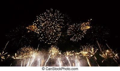 hd, -, fireworks., wijde hoek, aanzicht