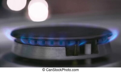 HD - Gas stove slowly ignites fire