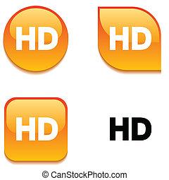 HD glossy button.