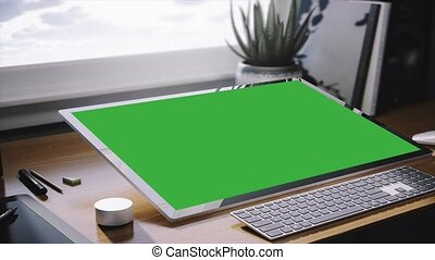 HD Green Screen Computer. Computer and keyboard in the...