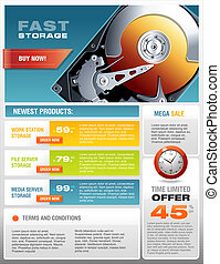 HD Hard Disk Sale Promotional Brochure Vector