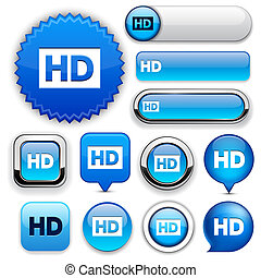HD high-detailed web button collection. - HD blue design...