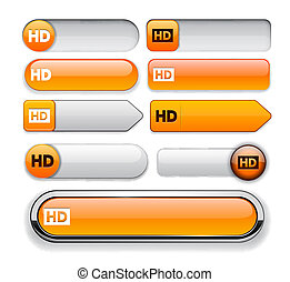 HD high-detailed web button collection. - HD orange design...