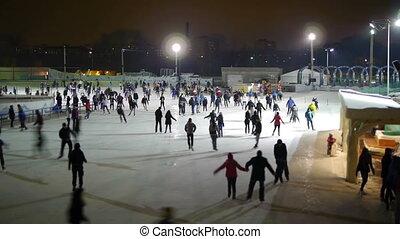 HD - ice skating. timelapse