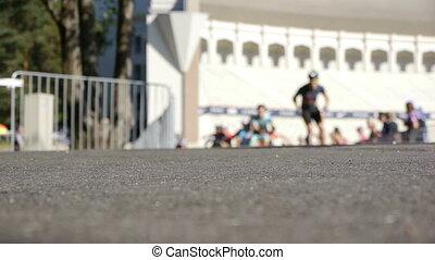 HD - Inline Skating Marathon. blur