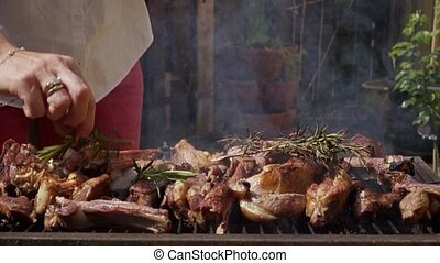 HD Lamb meat with flames on grill with rosemary 10 - Lamb...