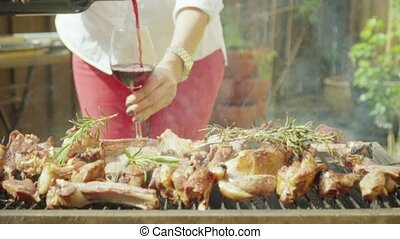 HD Lamb meat with flames on grill with rosemary 13 - Lamb...