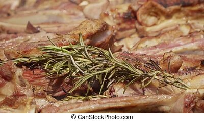 HD Lamb meat with flames on grill with rosemary 7 - Lamb...