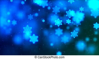 HD Loopable Background with nice abstract flying blue snowflakes