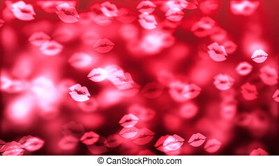 HD Loopable Background with nice abstract flying kisses