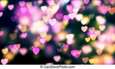 HD Loopable Background with nice colorful flying hearts