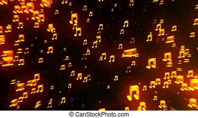 HD Loopable Background with nice flying musical notes
