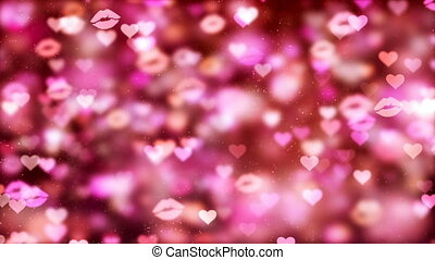 HD Loopable Background with nice flying hearts and kisses