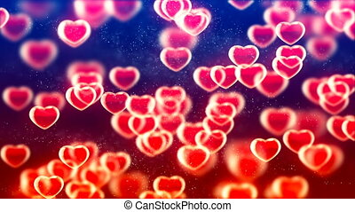 HD Loopable Background with nice flying red hearts