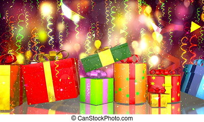 HD Loopable Background with nice gift boxes