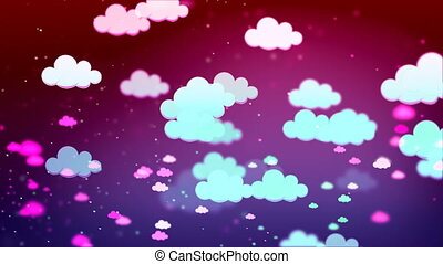 HD Loopable Background with nice multicolor clouds
