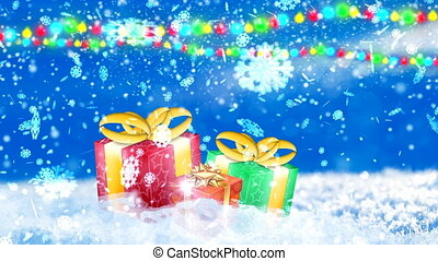 HD Loopable Background with nice snowflakes and xmas gift boxes