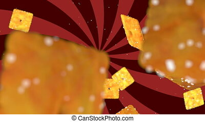 HD Loopable Background with nice abstract flying cookies