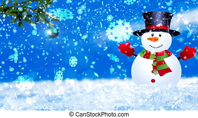 HD Loopable Background with nice snowflakes and xmas snowman