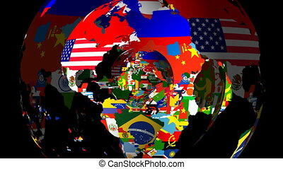 HD Loopable Spinning Globe with Countries Flags - High...