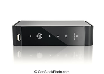 HD media player Black to play all HD formats on a white...