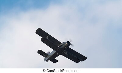 HD - Military air vehicle in the sky. An-2