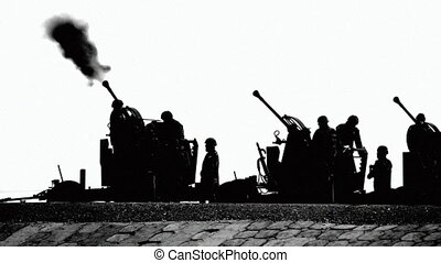 HD - Military parade. cannon