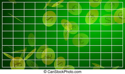 HD Motion background with business diagram and falling coins