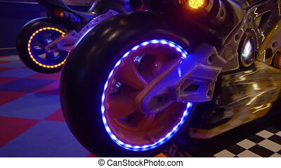 HD - Neon light of a arcade game machine