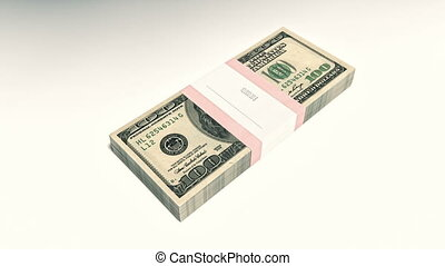 HD Packet of 100 dollar bills falling down - Packet of 100...