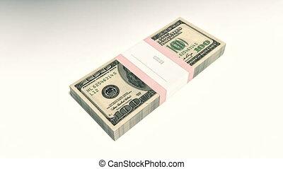 HD Packet of 100 dollar bills falling down