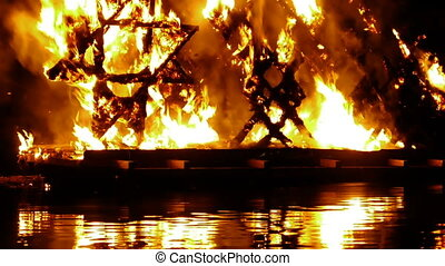 HD - Pagan festival. Fire on the water