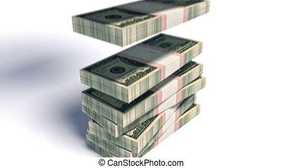 hd, paquet, de, 100 billets banque dollars, tomber