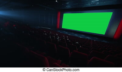 HD - People watching movie in cinema theater. green screen....