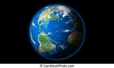 HD - Planet Earth rotates on BG