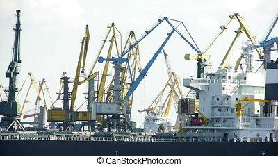 HD - Port Activity. Cranes and cargo ship