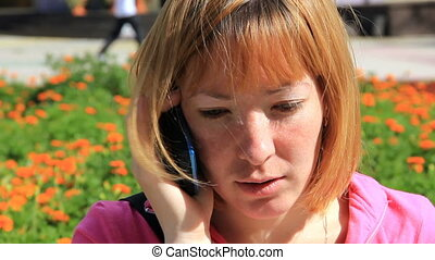 HD Pretty young girl talking on phone