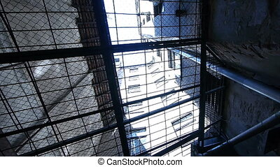 hd, -, prison., kilátás, át, rács