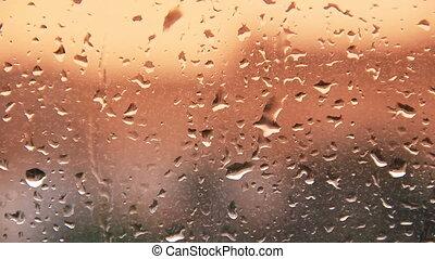 hd, regenwasser, tropfen, auf, windows, glas, während,...