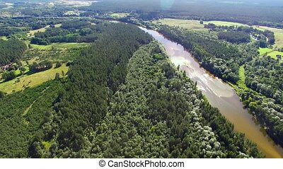 HD - River in the forest. Aerial