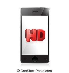 hd, smartphone, デザイン, screen., イラスト