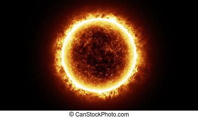 hd, -, sol, superfície, com, solar, chamas