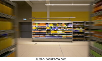 HD - Timelapse in the supermarket. Food shelves